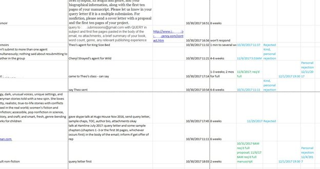Agent spreadsheet I used for Stage 4: Querying
